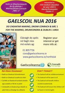 Bunscoil lán-Ghaeilge nua do Mharino, Droim COnrach agus Baile Átha Cliath 1