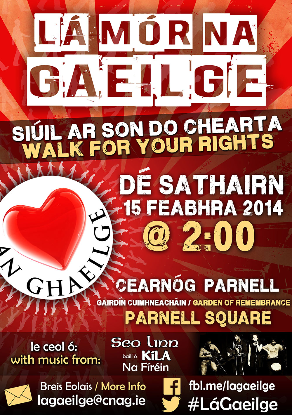Lá Mór na Gaeilge - a demonstration in support of Irish language rights in Ireland,  Saturday 15th of February 2014